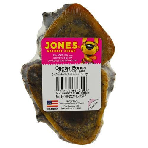 Jones Natural Chews Center Bone Dog Treats, 1-in, 2-pk