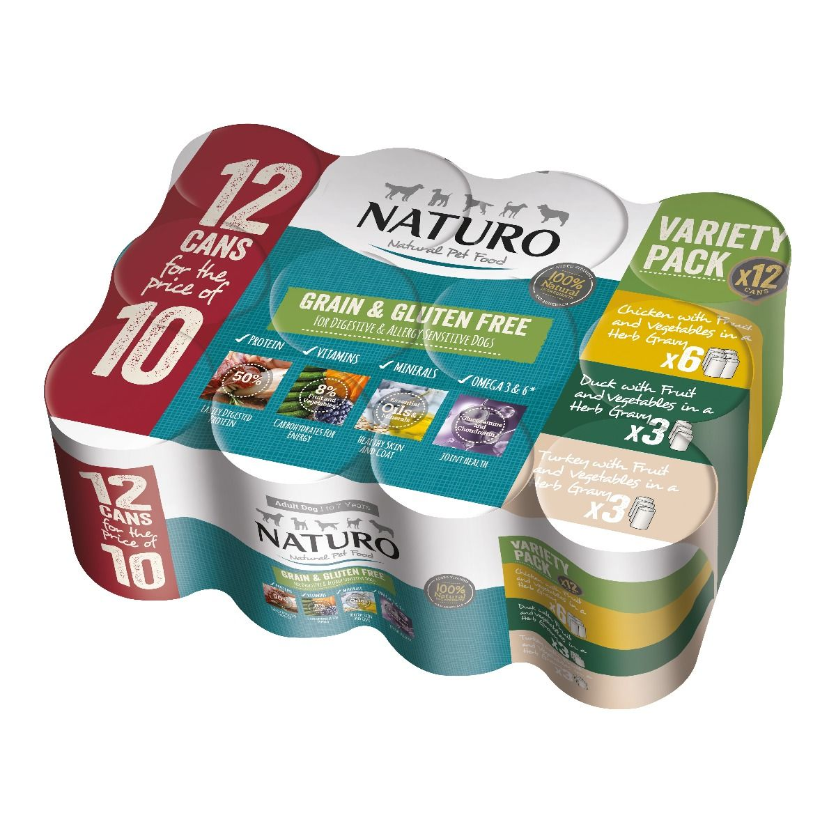Naturo Adult Grain & Gluten Free Poultry Variety Pack, 390g, case of 12