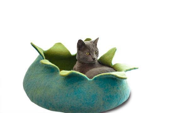 Dharma Dog Karma Cat Petal Cat Basket Bed, Aqua Image