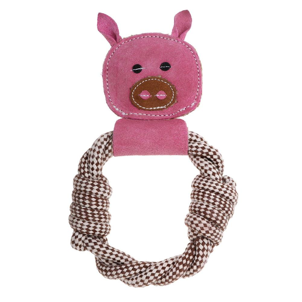 Country Tails Farm Animals Peggy Pig Rope Ring Dog Toy