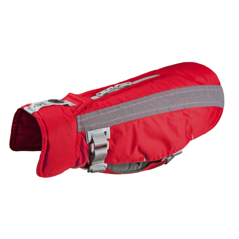 RC Pet Vortex Parka Dog Coat, Red and Grey, Size 14