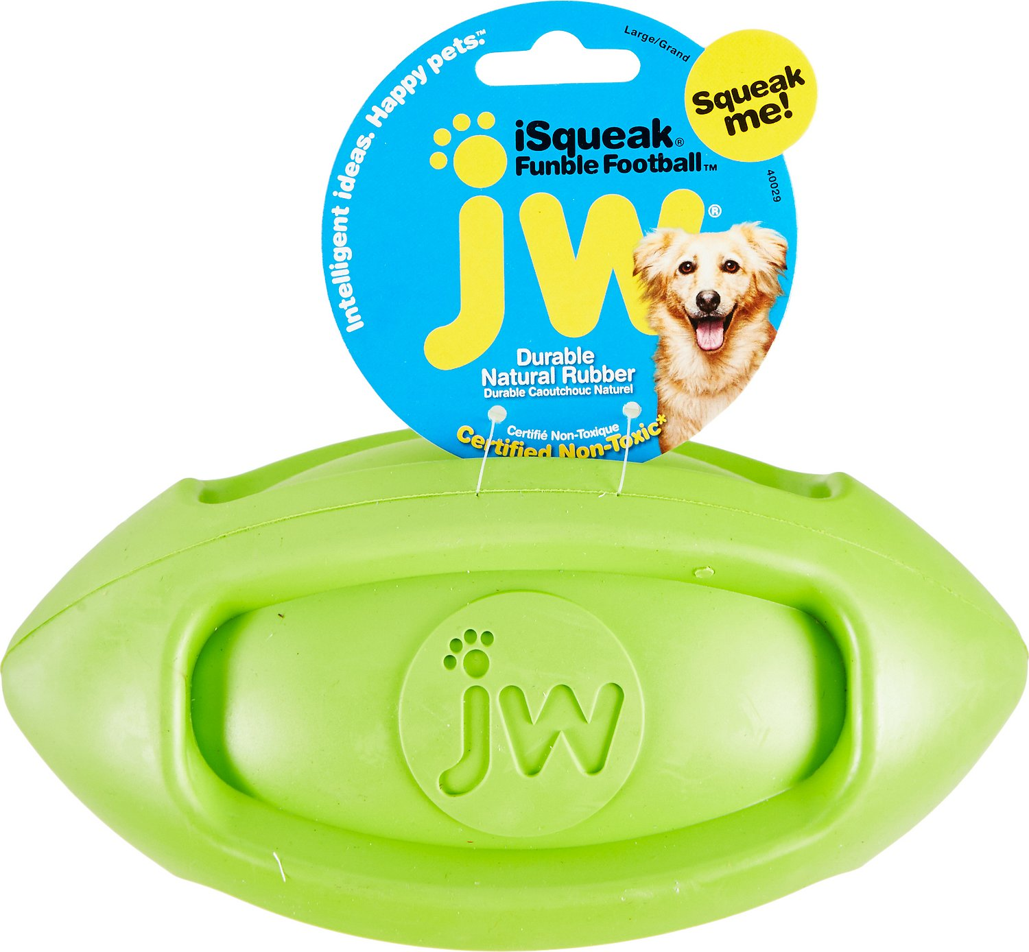 JW Pet iSqueak Funble Football Dog Toy, Color Varies Image