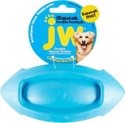 JW Pet iSqueak Funble Football Dog Toy, Color Varies, Medium
