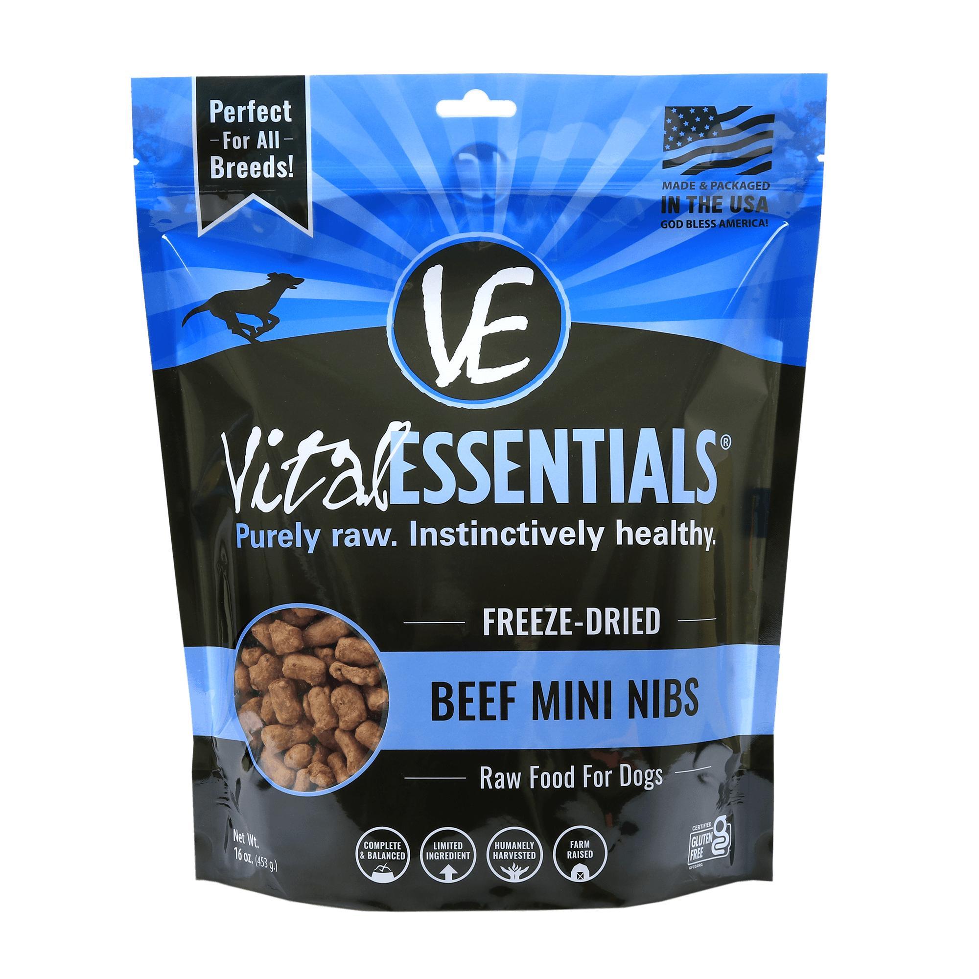Vital Essentials Beef Entree Mini Nibs Grain-Free Freeze-Dried Dog Food, 1-lb