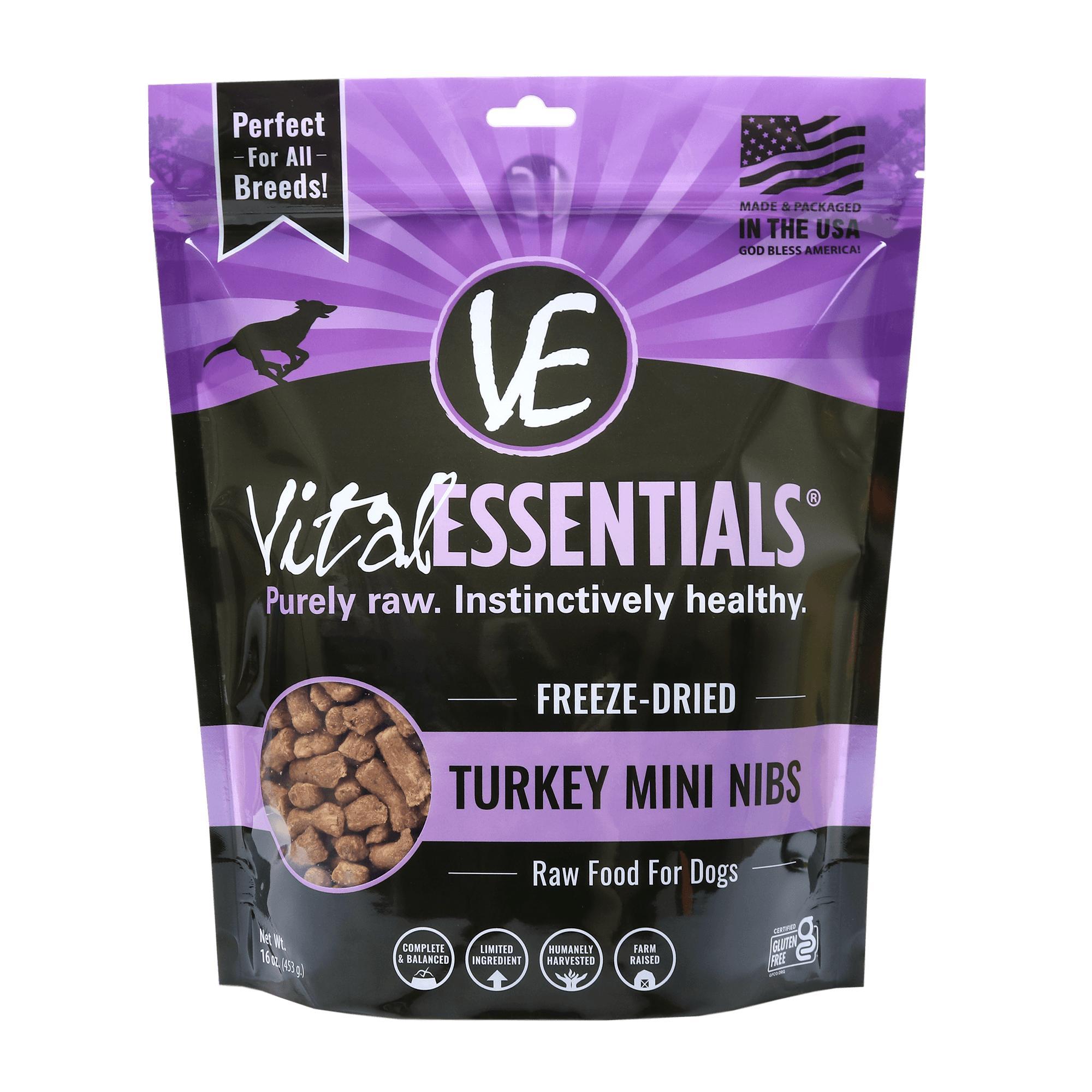 Vital Essentials Turkey Entree Mini Nibs Grain-Free Freeze-Dried Dog Food, 1-lb