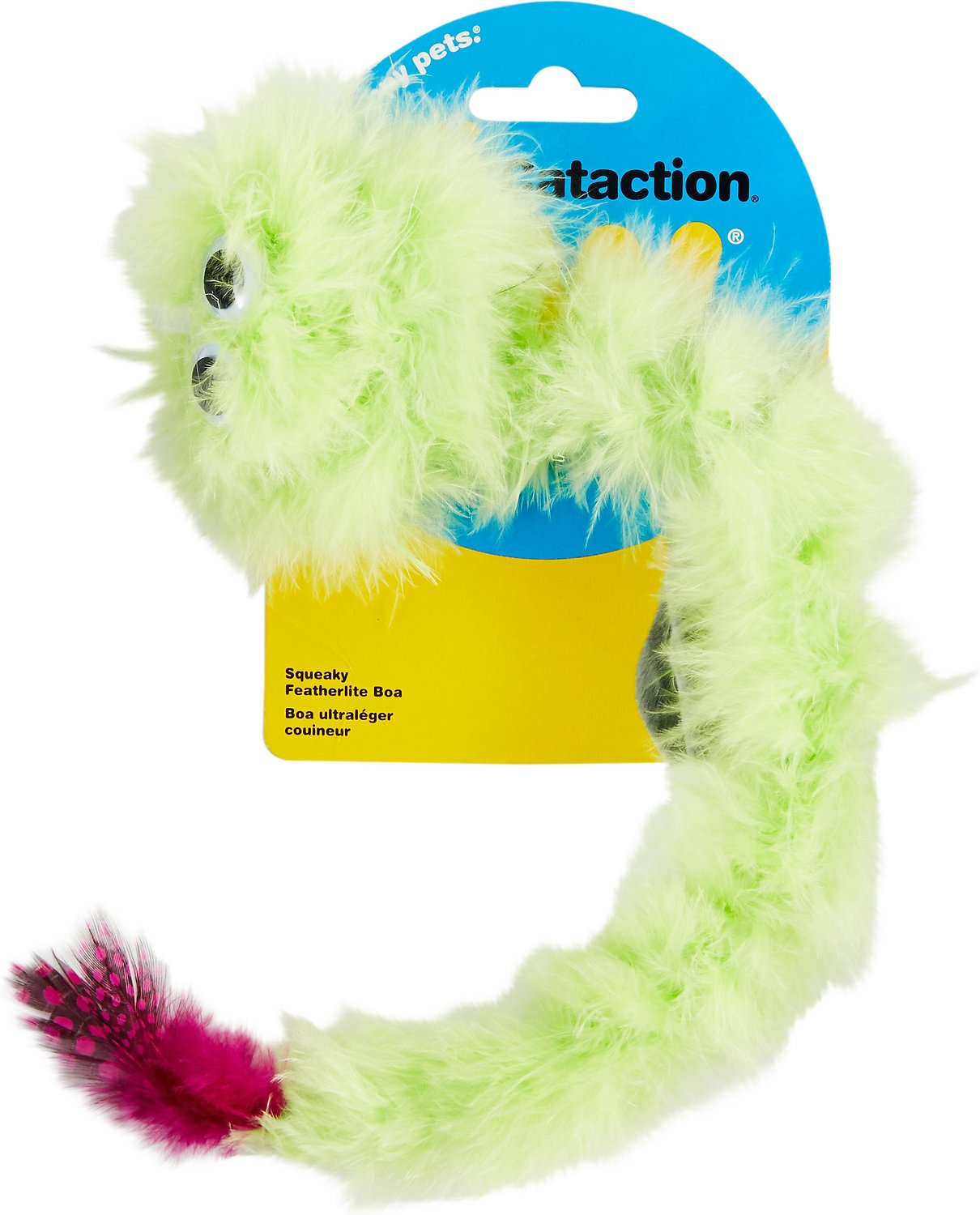 JW Pet Cataction Featherlite Catnip Boa Squeaking Cat Toy, Color Varies