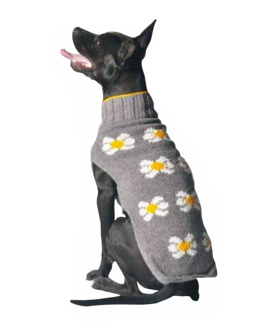 Chilly Dog Hand Knit Wool Daisy Dog Sweater, Large