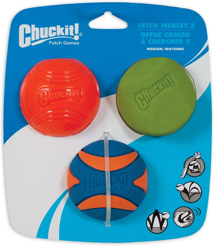 Chuckit! Fetch Ball Medley 2 Triple Pack Ball Dog Toy, Medium Image