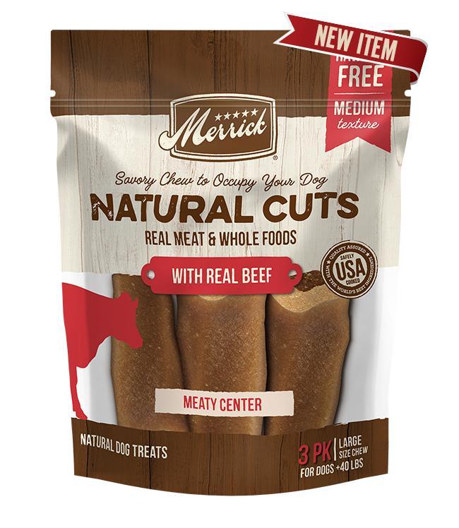 Merrick Natural Cuts Beef Dog Treats, Large, 3-count