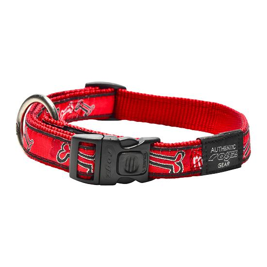 Rogz Fancy Dress Dog Collar, Red Bones Image