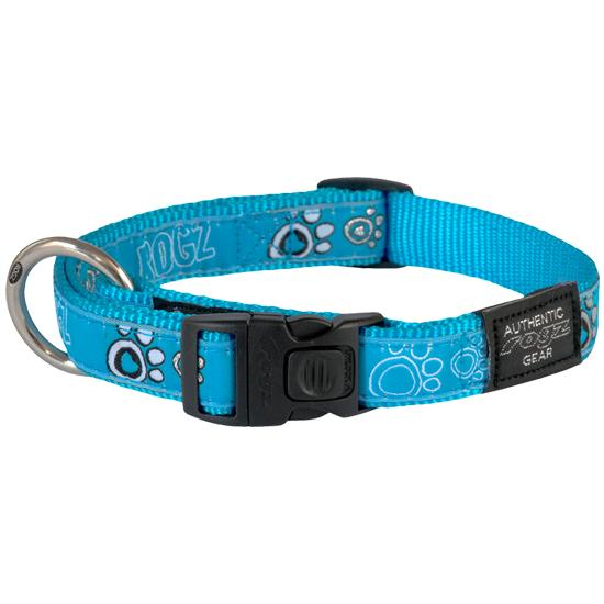 Rogz Fancy Dress Dog Collar, Turquoise Paws, Small