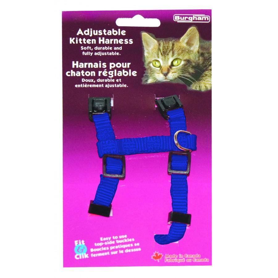 Burgham Adjustable Kitten Cat Harness, Blue, 3/8-in x 9-15-in (Size: 3/8-in x 9-15-in) Image