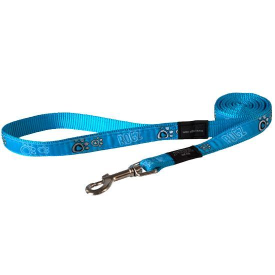 Rogz Fancy Dress Dog Lead, Turquoise Paw, 1-in x 6-ft