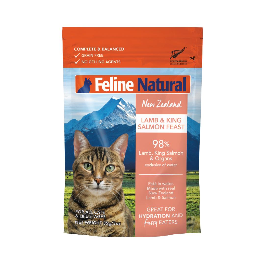 Feline Natural Lamb & Salmon Pouch Wet Cat Food, 3-oz