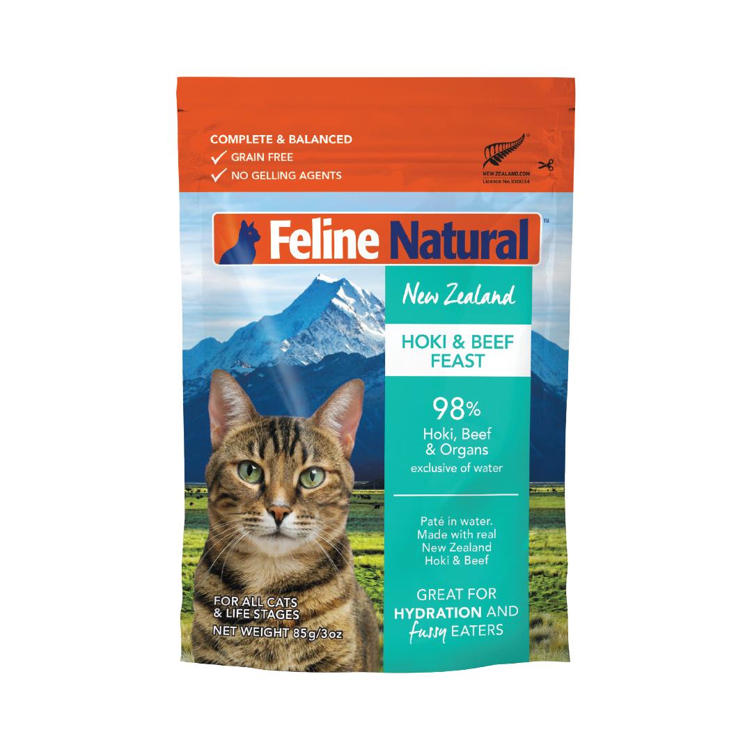 Feline Natural Beef & Hoki Pouch Wet Cat Food, 3-oz