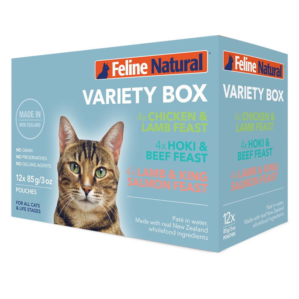 Feline Natural Variety Pack Wet Cat Food Pouches, 3-oz, case of 12