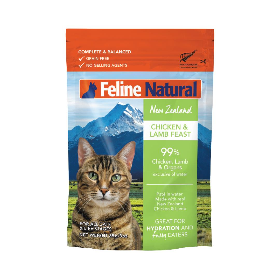 Feline Natural Chicken & Lamb Pouch Wet Cat Food, 3-oz