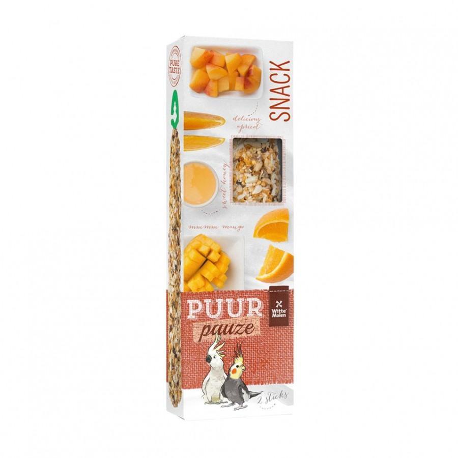 Witte Molen PUUR Pauze Seed Sticks Fruit & Honey Large Parakeet & Cockatoo Bird Treats, 140-gram