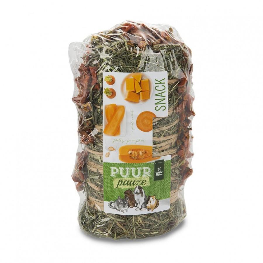 Witte Molen PUUR Pauze Hay Roll Carrot & Pumpkin Small Animal Treats, 200-gram