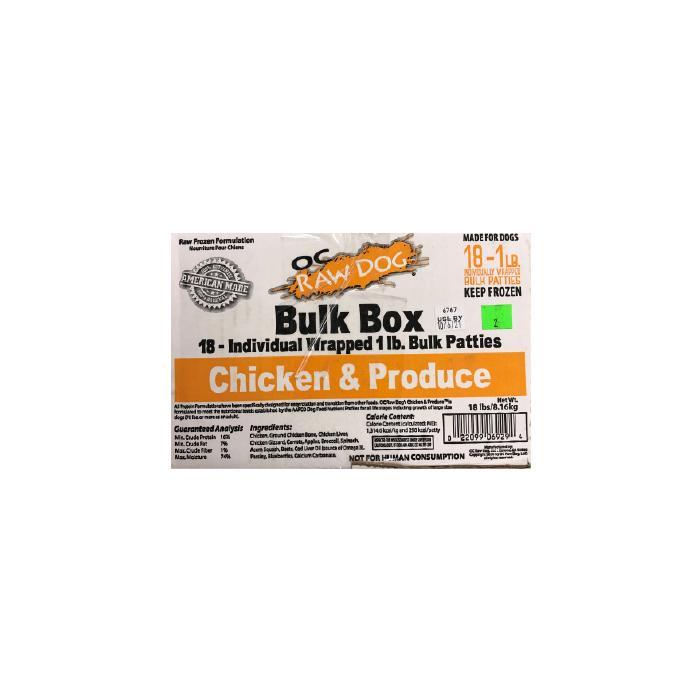 OC Raw Chicken & Produce Patties Frozen Dog Food, 18-lb