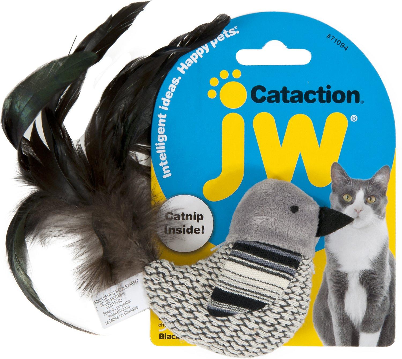 JW Pet Cataction Black & White Bird with Catnip Cat Toy