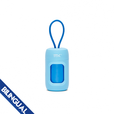 Modern Kanine Poop Bag Dispenser, Light Blue with Blue Bags, 20-count
