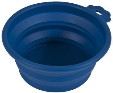 Petmate Silicone Round Collapsible Travel Pet Bowl, Navy Blue, Small