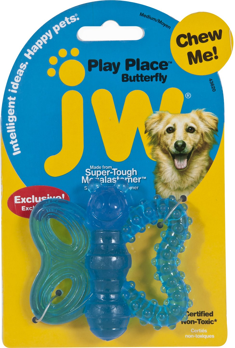 JW Pet Puppy Play Place Butterfly Teether Dog Toy, Color Varies