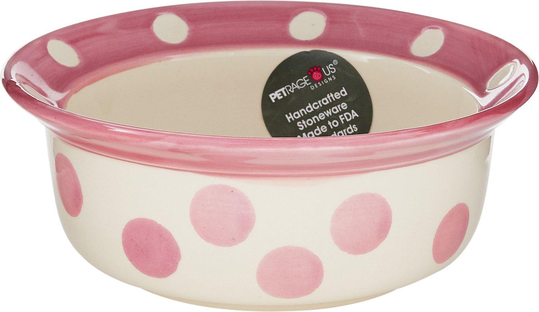 PetRageous Designs Polka Paws Deep Pet Bowl, Pink, 2-cups