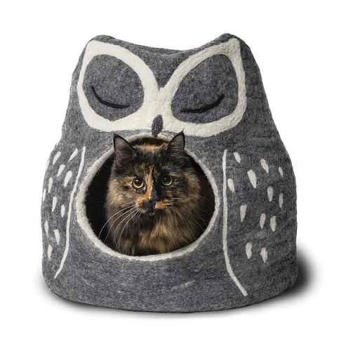Dharma Dog Karma Cat Grey Owl Cave Dog & Cat Bed Image