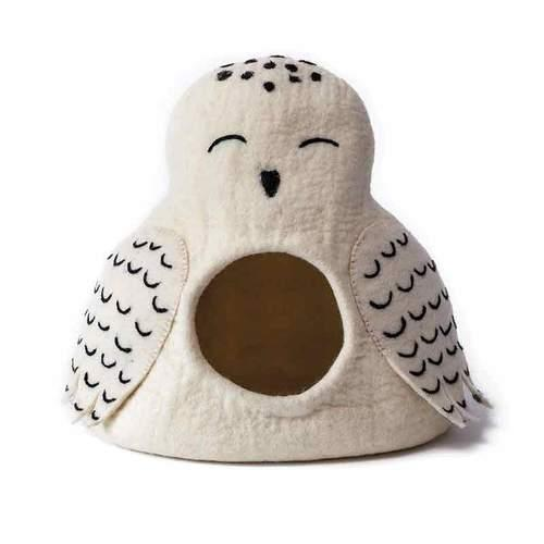 Dharma Dog Karma Cat Snowy Owl Cave Dog & Cat Bed Image