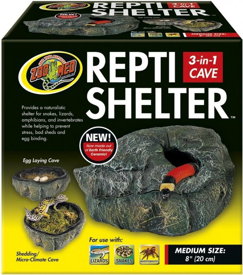 Zoo Med Reptile Shelter 3-in-1 Cave for Reptiles, Large
