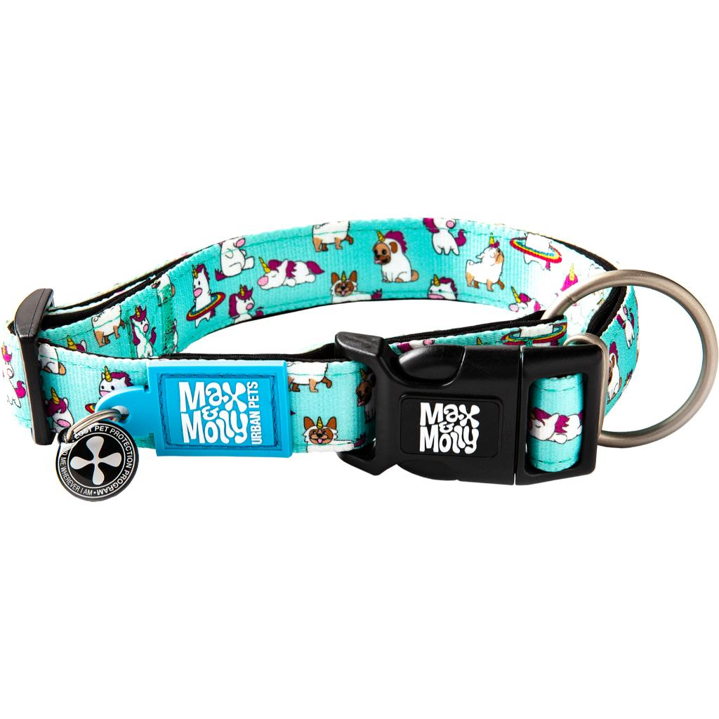 Max & Molly Smart ID Dog Collar, Unicorns, 8-13-in