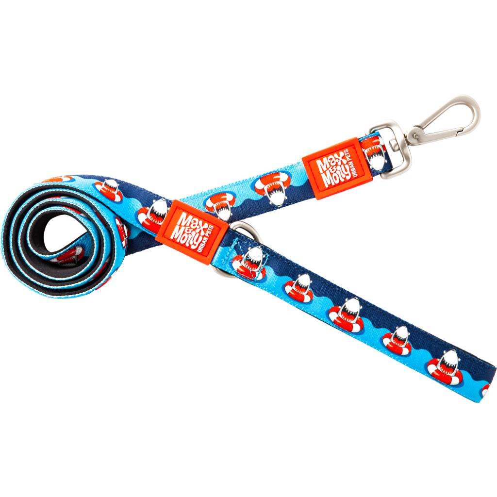 Max & Molly Original Dog Leash, Frenzy the Shark, 1/3-in x 4-ft