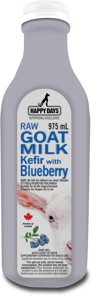 Happy Days Raw Goat Milk Kefir with Blueberry for Dogs & Cats, 975-mL