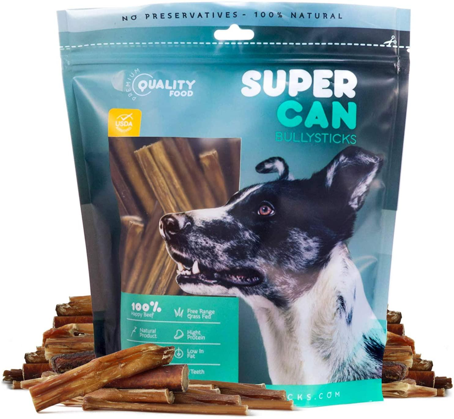 SuperCan Bully Sticks Odour Free Dog Treats, 3-5-in, 8-oz