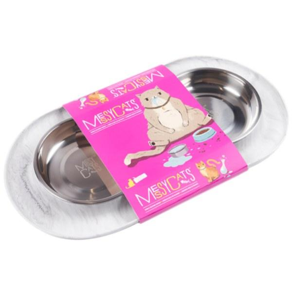 Messy Cats Stainless Steel Double Feeder with Non-Slip Base Cat Bowl, Marble, Medium