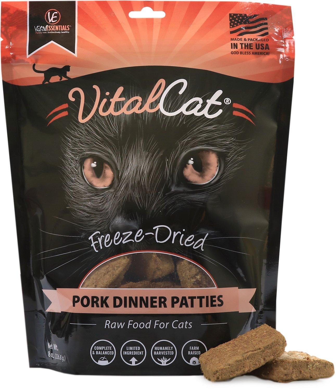 Vital Essentials Pork Dinner Patties Freeze-Dried Cat Food, 8-oz