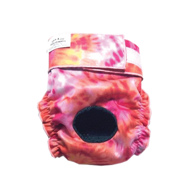 Jack & Jill Dog Diapers Female Dog Diaper, Pink/Orange, 3X-Small