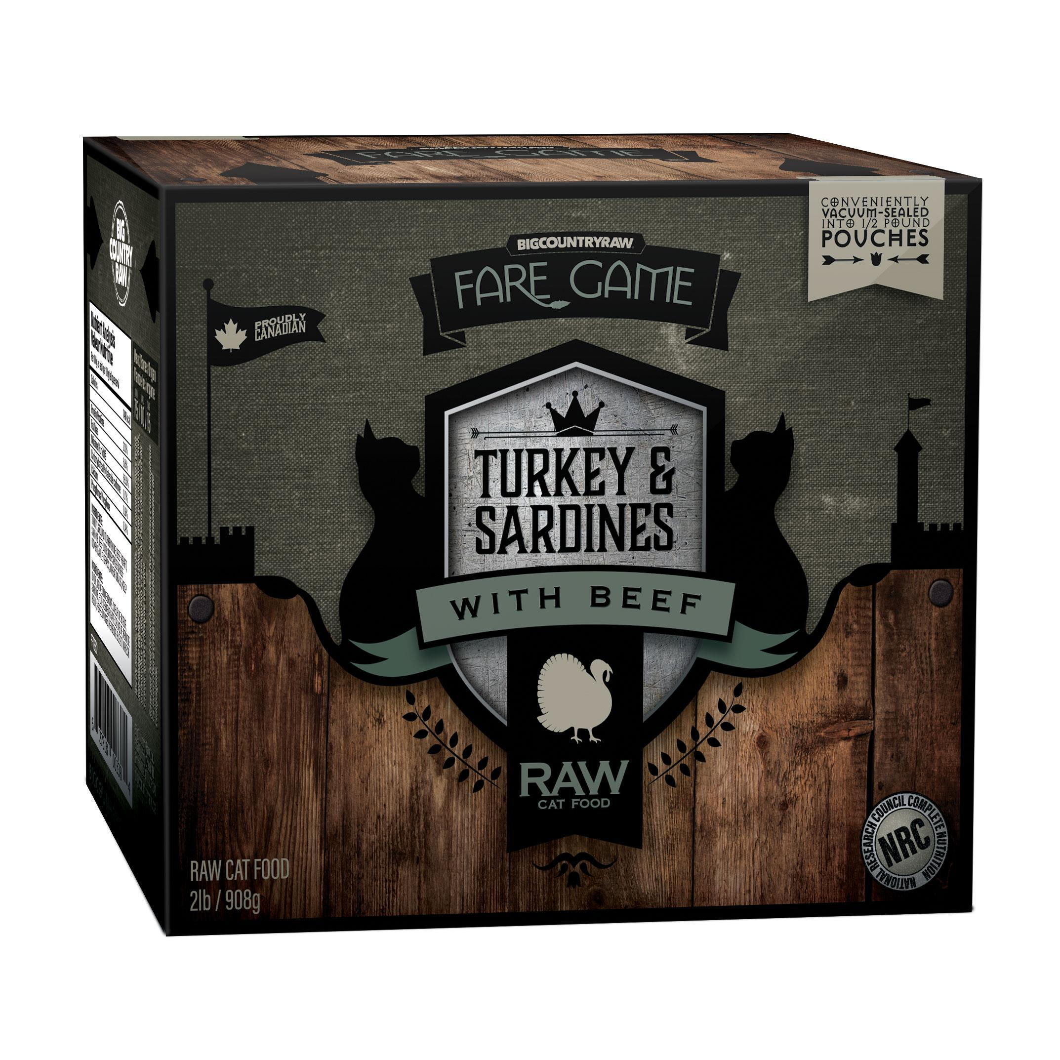 Big Country Raw Fare Game Turkey & Sardines with Beef Raw Frozen Cat Food, 2-lb