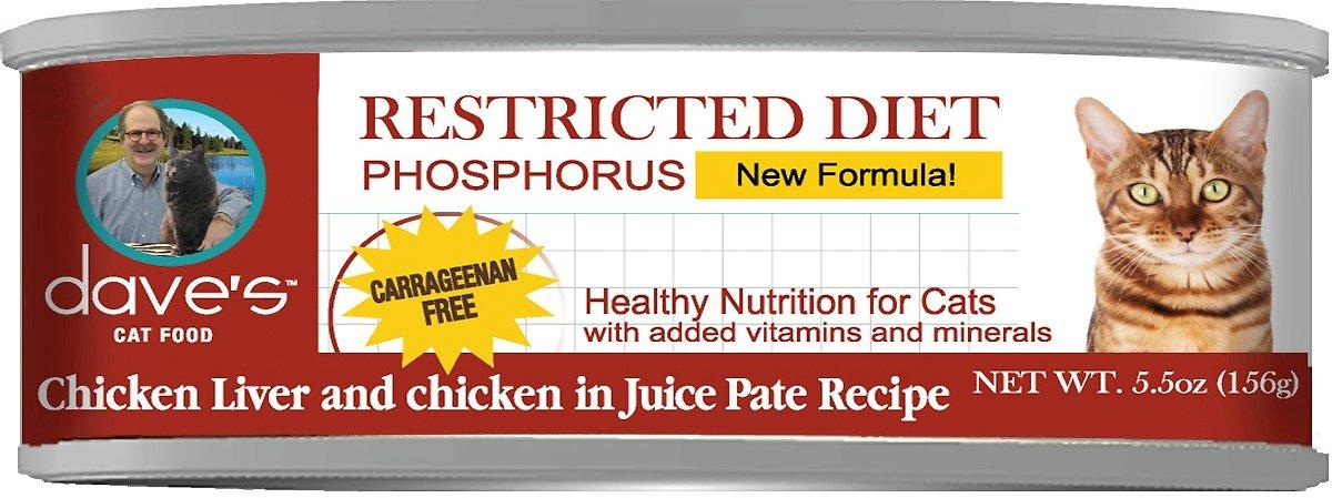 Dave's Pet Food Restricted Diet Phosphorus Chicken Liver & Chicken in Juice Pate Canned Cat Food, 5.5-oz