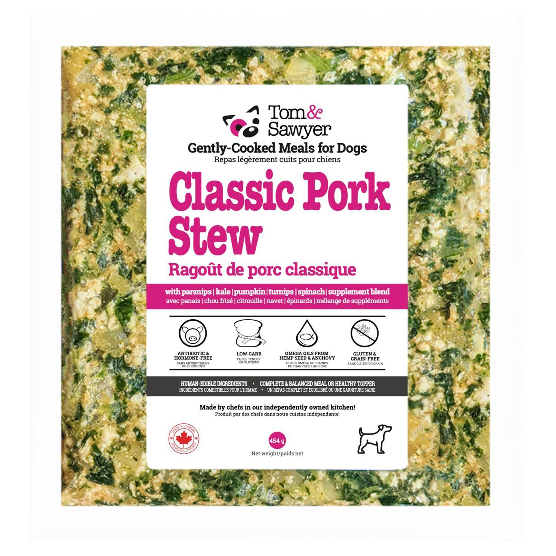 Tom&Sawyer Classic Pork Stew Frozen Dog Food, 454-gram