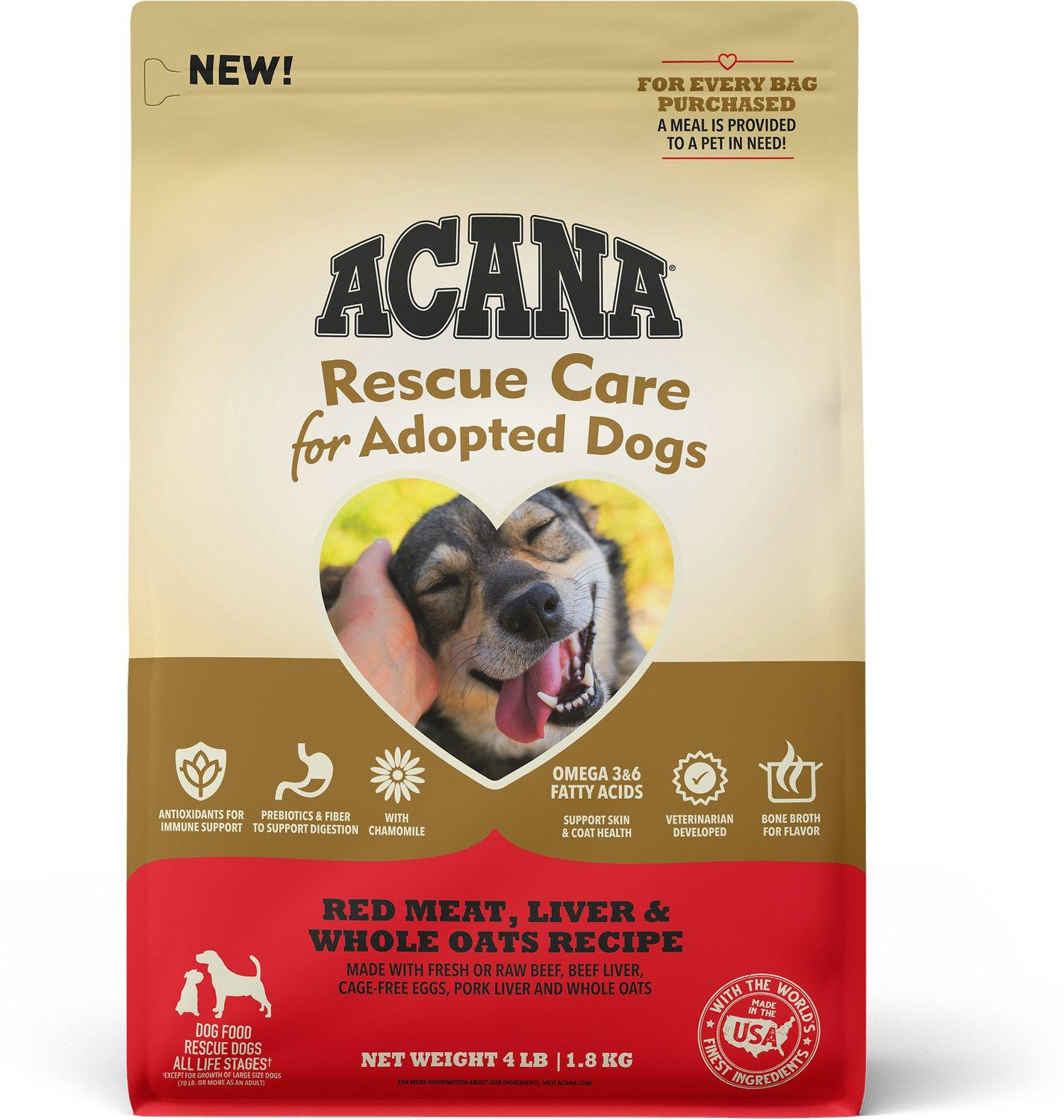 ACANA Rescue Care for Adopted Dogs Red Meat, Liver & Oats Dry Dog Food, 4-lb