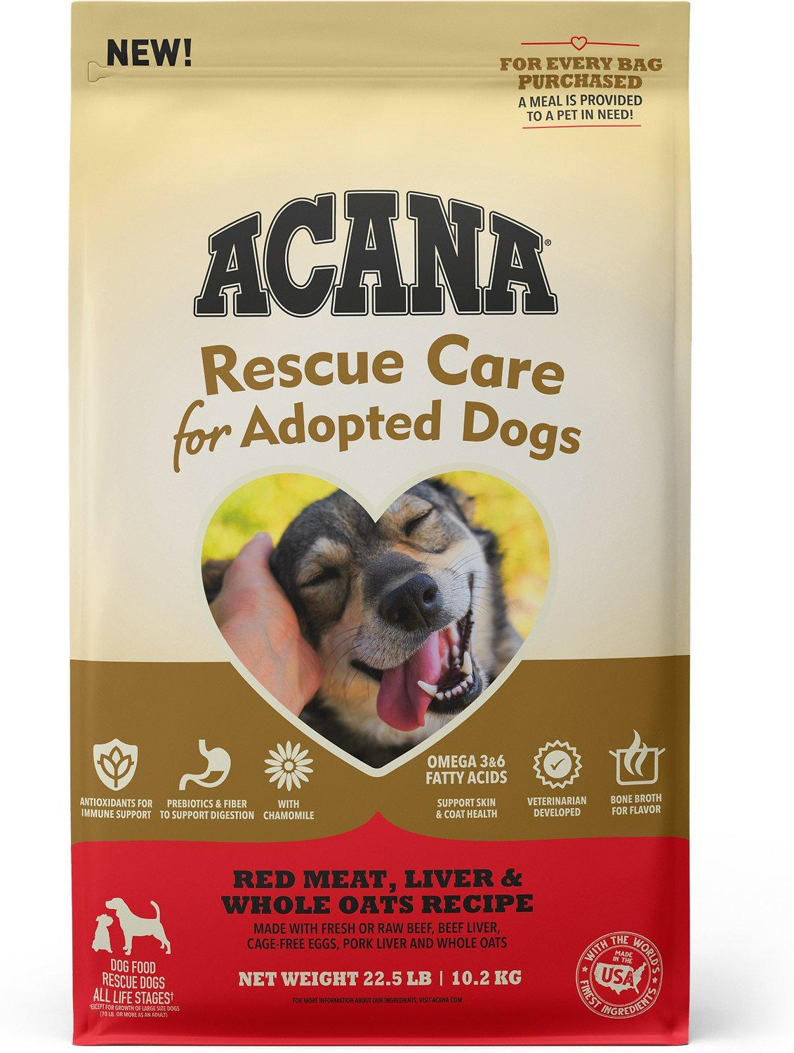 ACANA Rescue Care for Adopted Dogs Red Meat, Liver & Oats Dry Dog Food, 22.5-lb