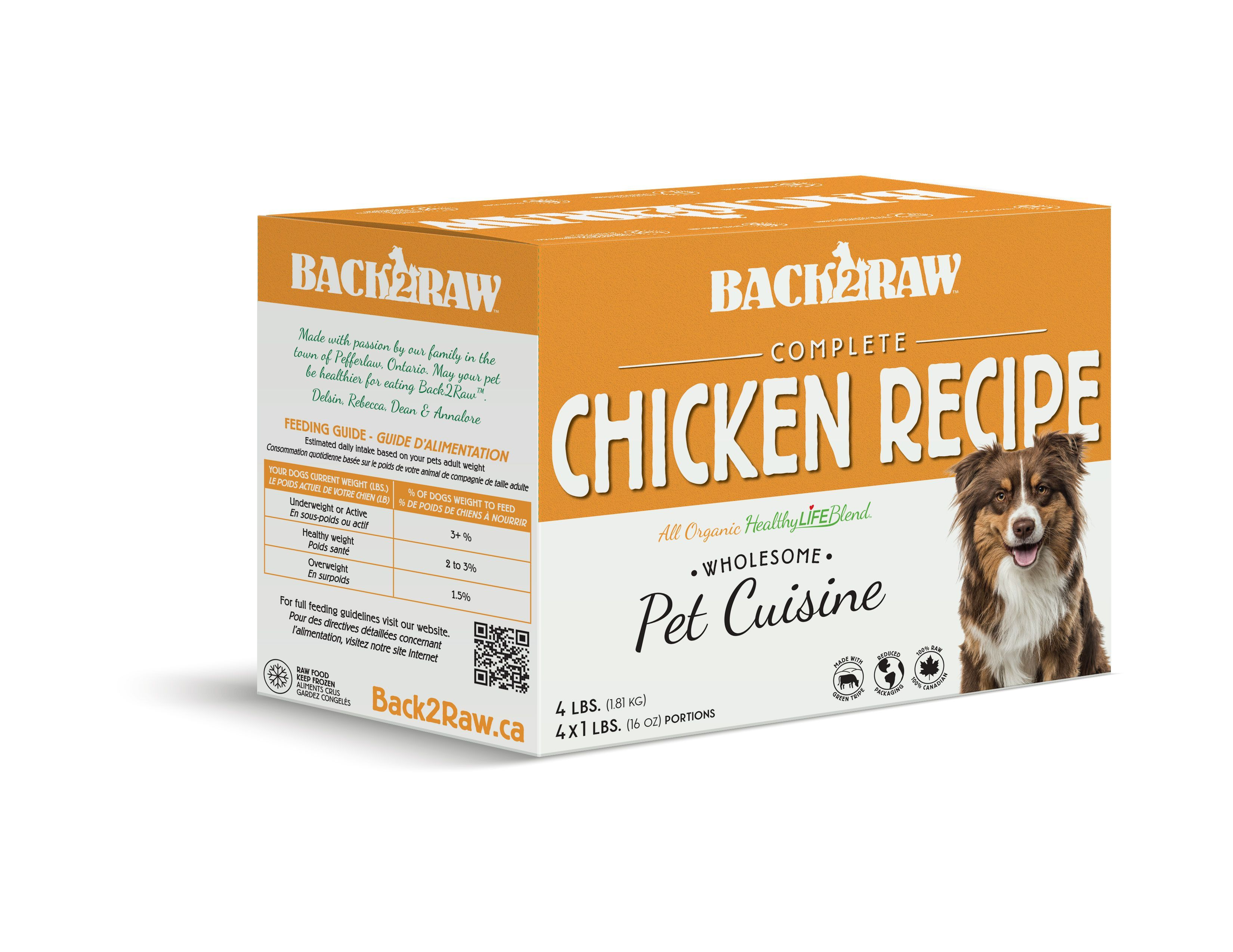 Back2Raw Complete Meals Chicken Recipe Frozen Dog Food, 1-lb, case of 4