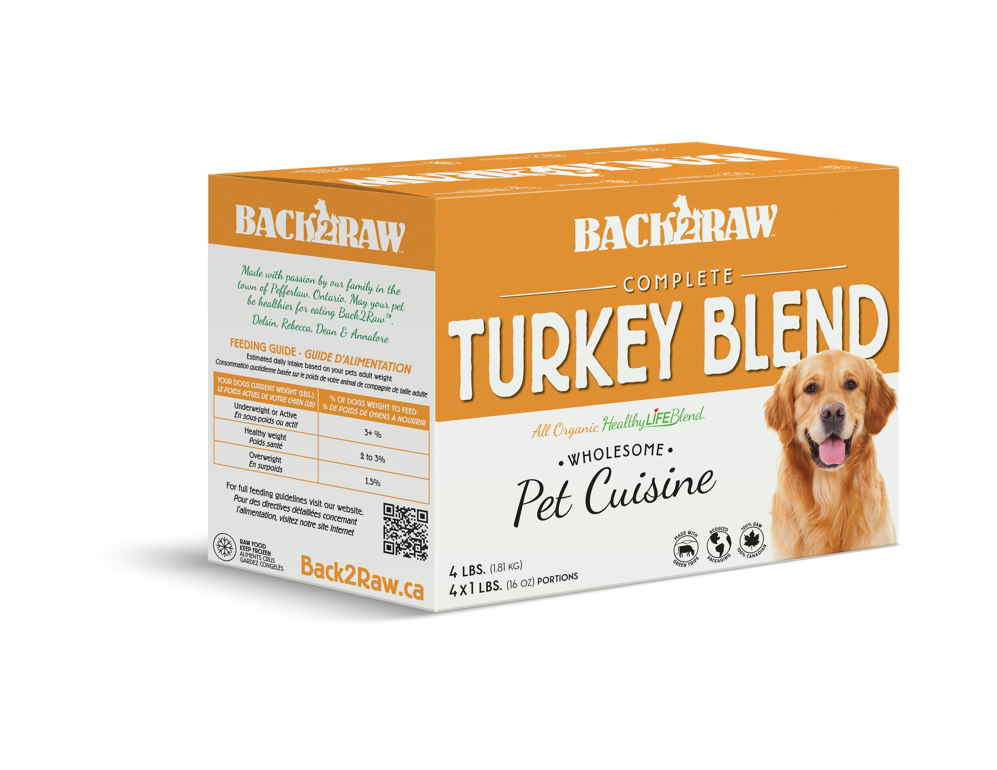Back2Raw Complete Meals Turkey Blend Frozen Dog Food, 1-lb, case of 4