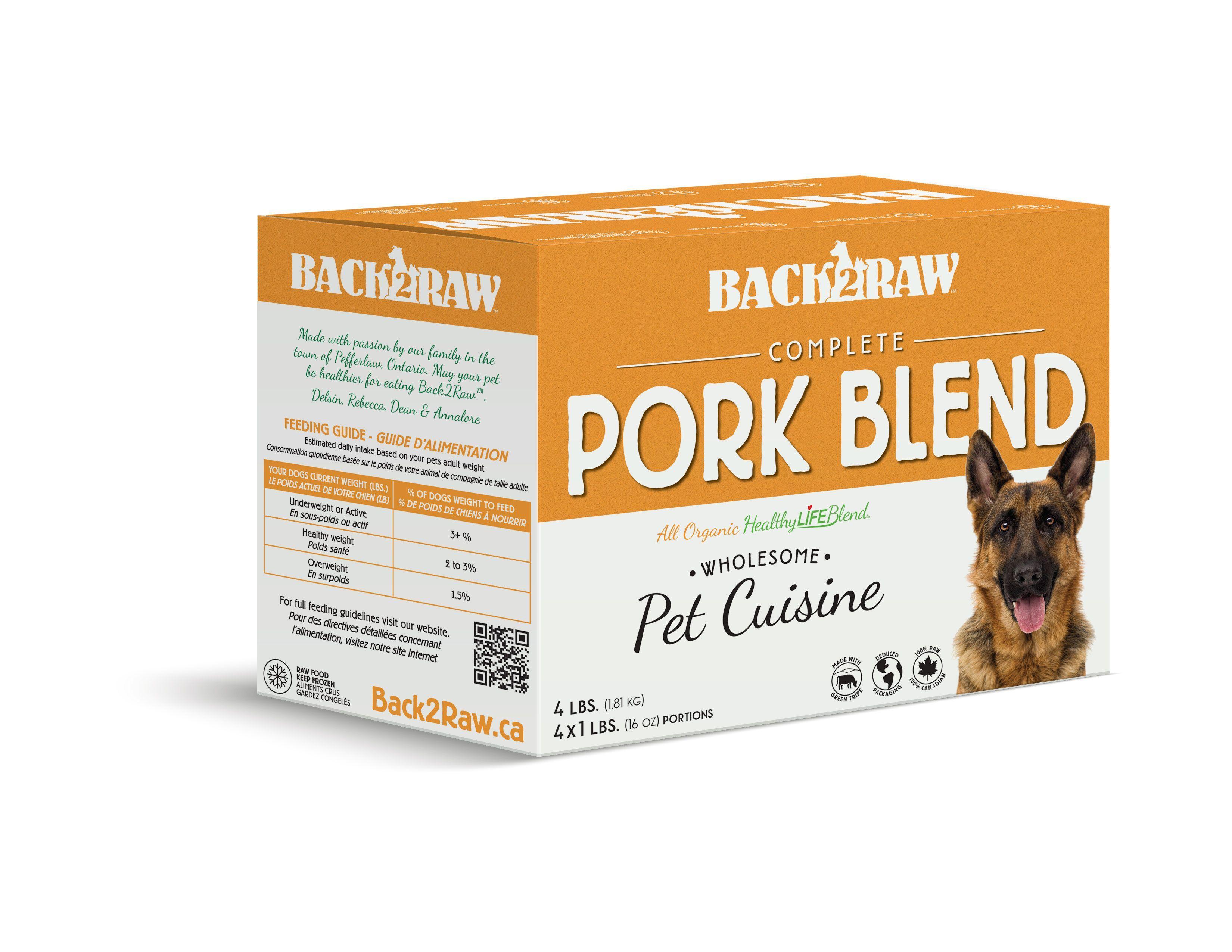 Back2Raw Complete Meals Pork Blend Frozen Dog Food, 1-lb, case of 4