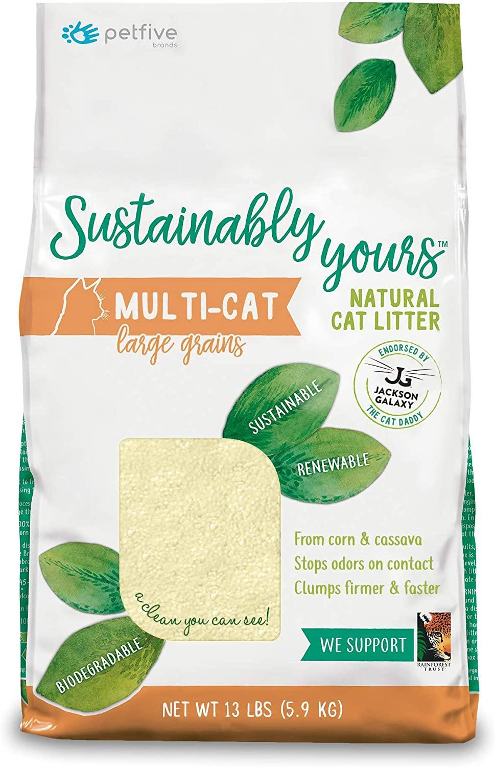Sustainably Yours Natural Large Grain Multi-Cat Cat Litter, 13-lb
