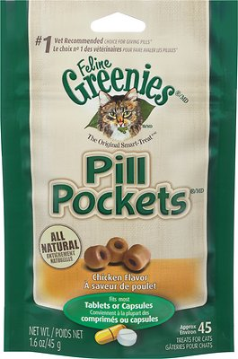 Feline Greenies Pill Pockets Chicken Flavor Cat Treats, 45 count
