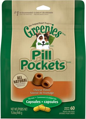 Greenies Pill Pockets Cheese Flavor Dog Treats, 60 count, Capsule Size